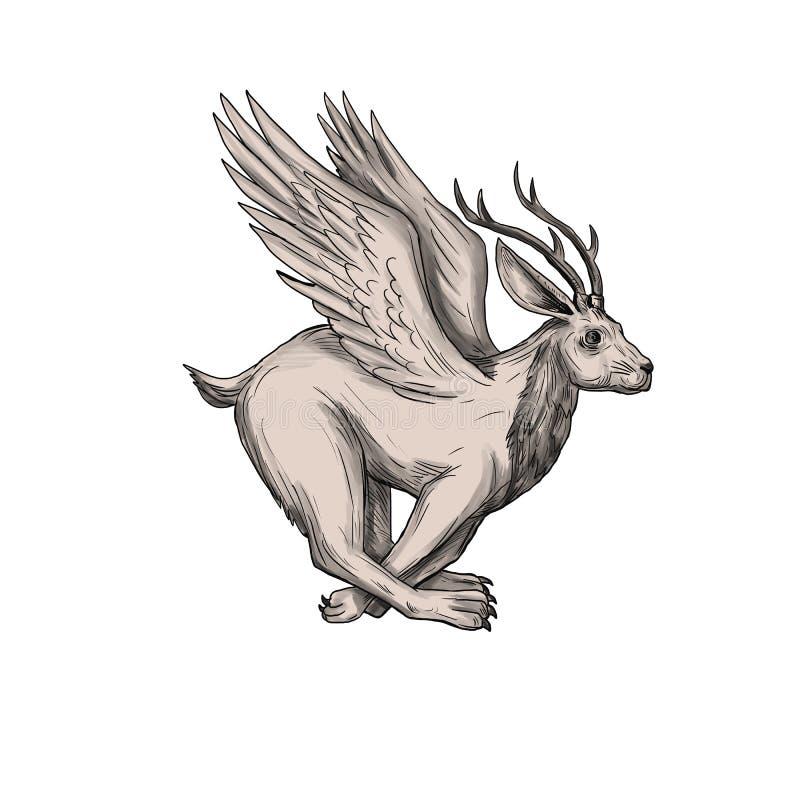 Tatuaje 'running side' de Wolpertinger ilustración del vector