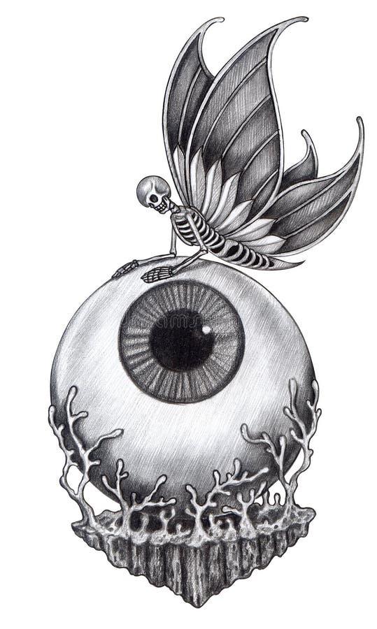 Tatuaje surrealista del cráneo del arte libre illustration