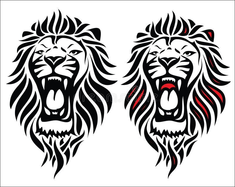 Tatuaje tribal aislado del león stock de ilustración