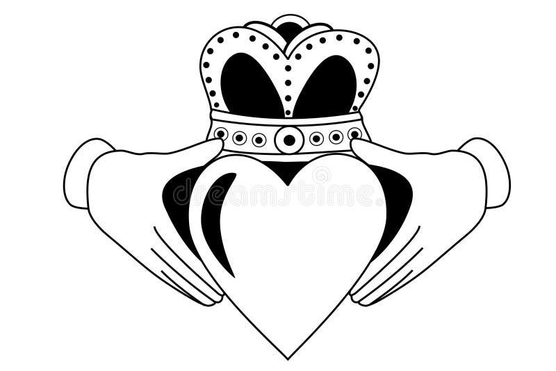 Tatuaje tribal de Claddagh stock de ilustración