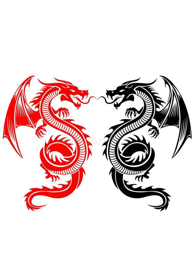 Tatuaje tribal del dragón stock de ilustración