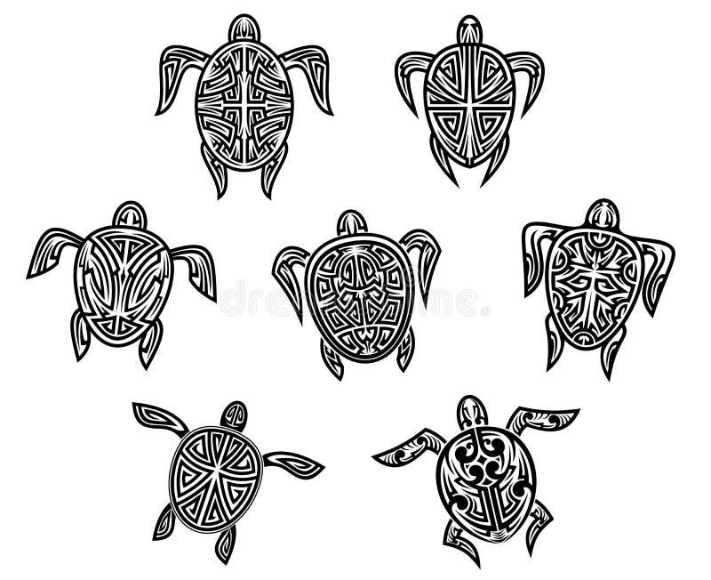 Tatuajes tribales de las tortugas stock de ilustración