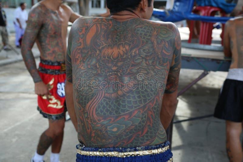 Tatuerad gangster i Thailand arkivfoto