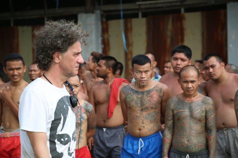 Tatuerad gangster i Thailand royaltyfria bilder