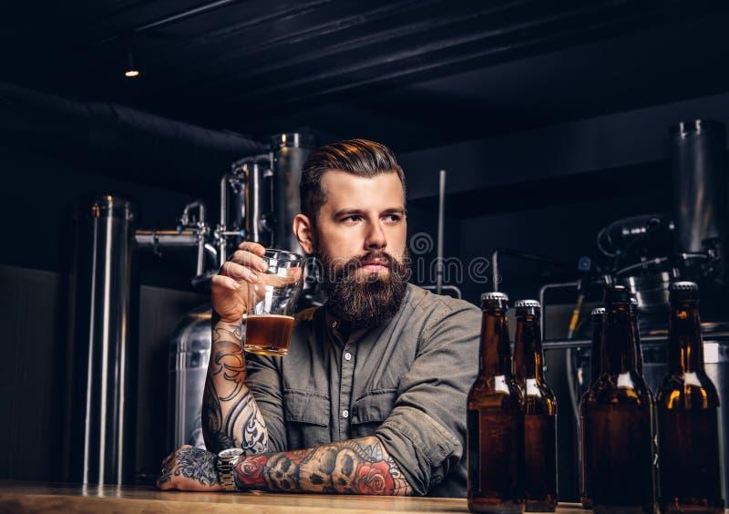 Tatuerad hipsterman med det stilfulla skägget och hår som dricker ölsammanträde på stångräknaren i det indie bryggeriet royaltyfri fotografi