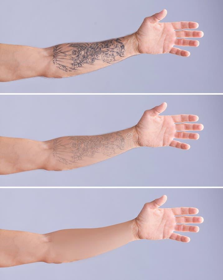 Tatuerad man på grå bakgrund fotografering för bildbyråer
