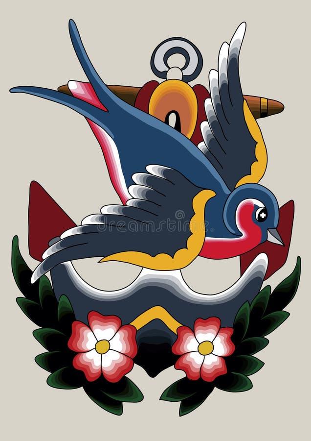 tatuering för 07 robin royaltyfri illustrationer