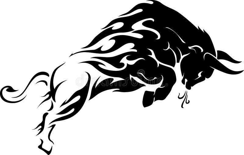 Tatuering för tjurflammaslinga stock illustrationer