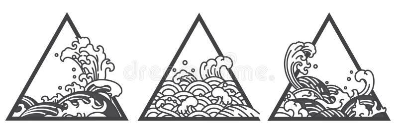 Tatuering för triangel för Japan vattenvåg vektor illustrationer