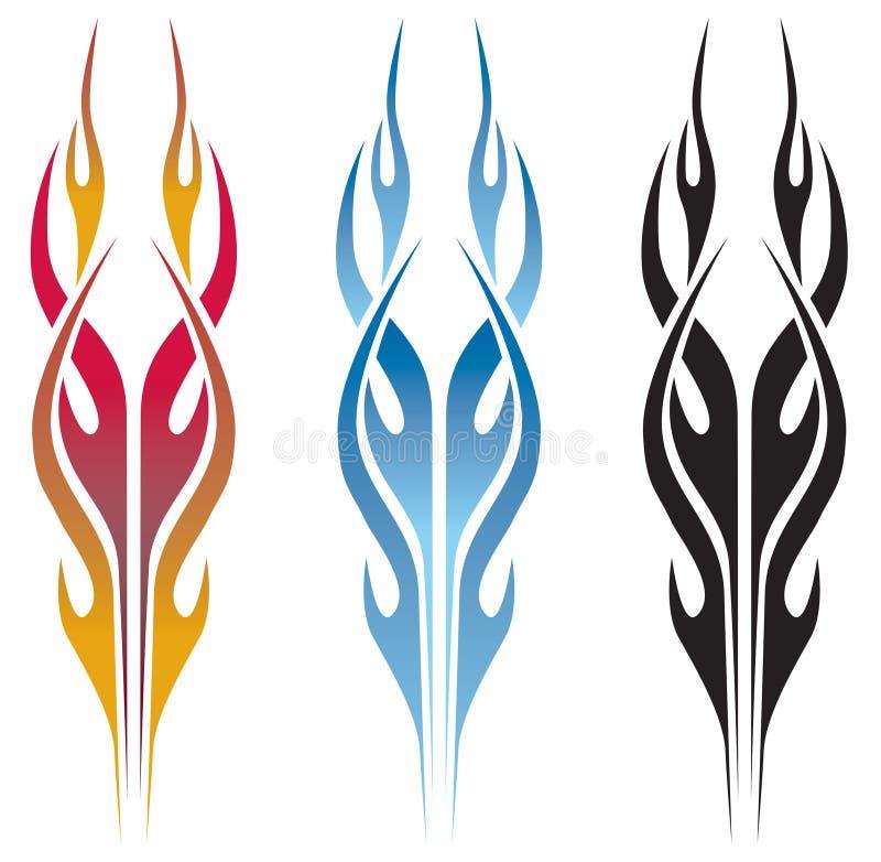tatuering för varm stång för flamma royaltyfri illustrationer