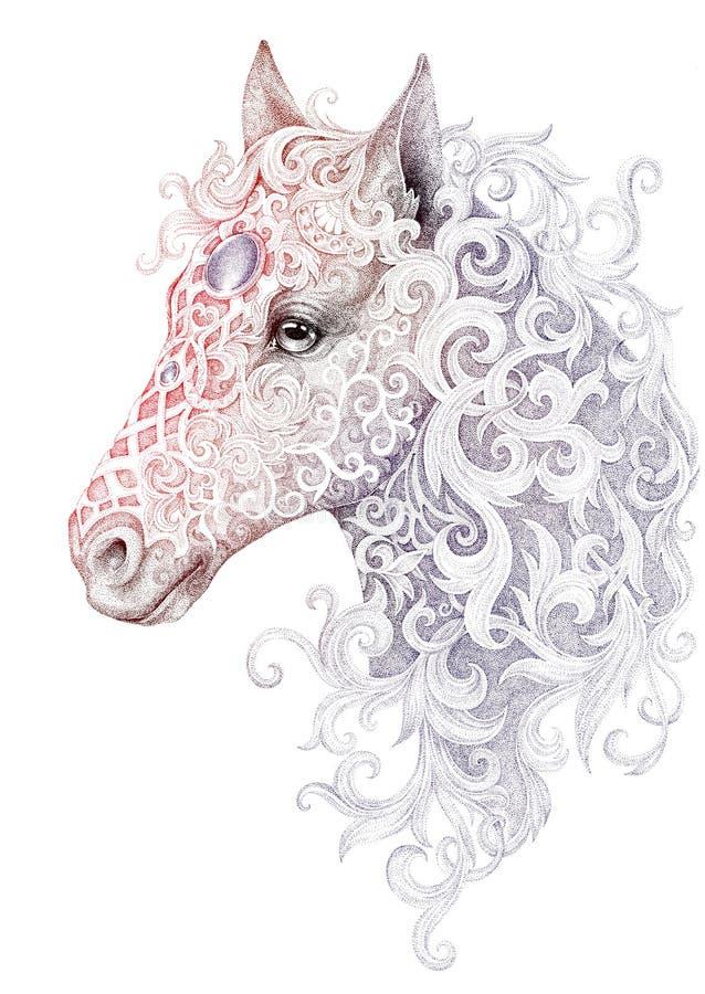 Tatuering härligt hästhuvud med en man stock illustrationer