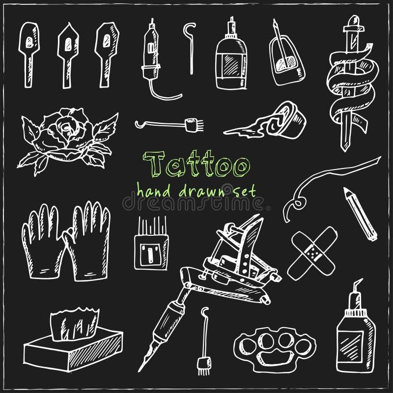 Tatuering Hand dragen klotteruppsättning skissar Vektorillustration för design- och packeprodukt vektor illustrationer