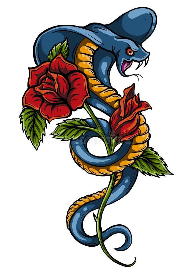 Tatuering med rosen och ormen Traditionellt svart prickstilf?rgpulver Rosor isolerade vektorillustrationen Gammal traditionell ta arkivbilder