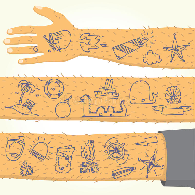 Tatuering på lång hand isolerad vektor royaltyfri illustrationer