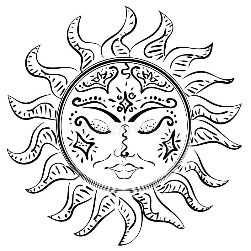 Tatuering som sover solen royaltyfri illustrationer