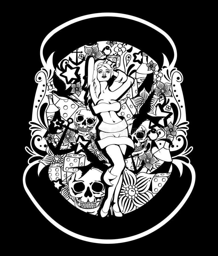 Tatuering utformat stift upp flicka royaltyfri illustrationer