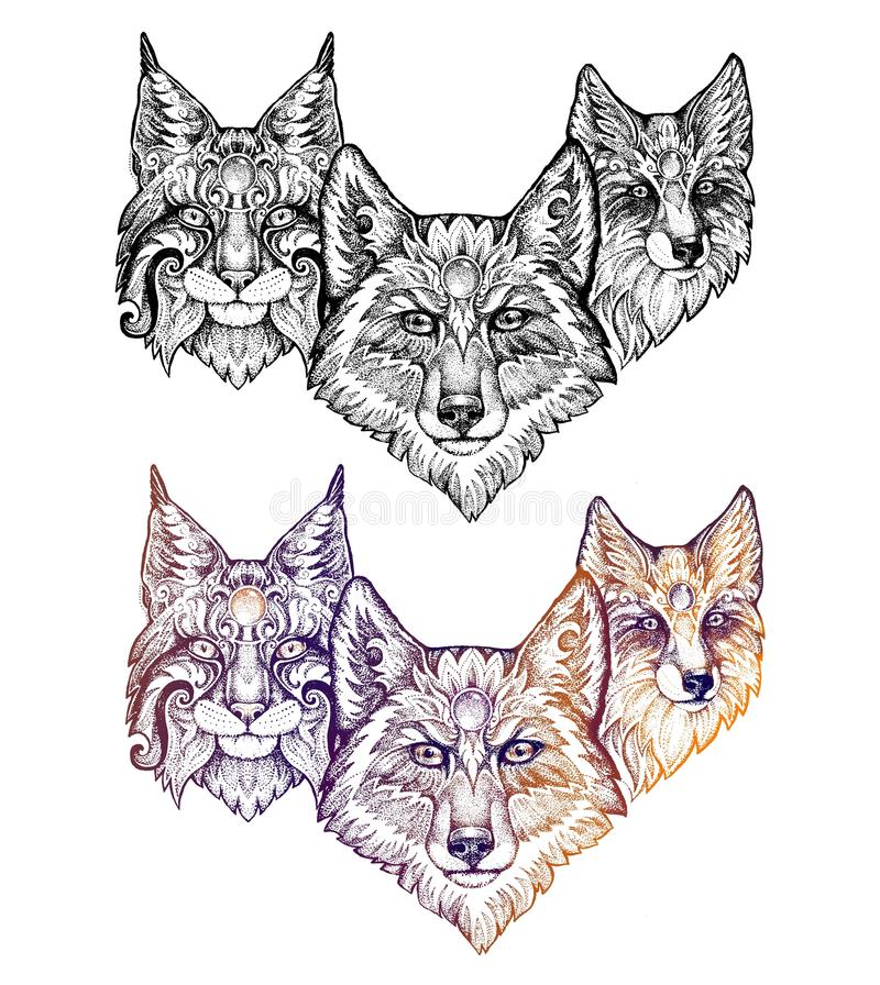 Tatuering Varg, lodjur och räv vektor illustrationer