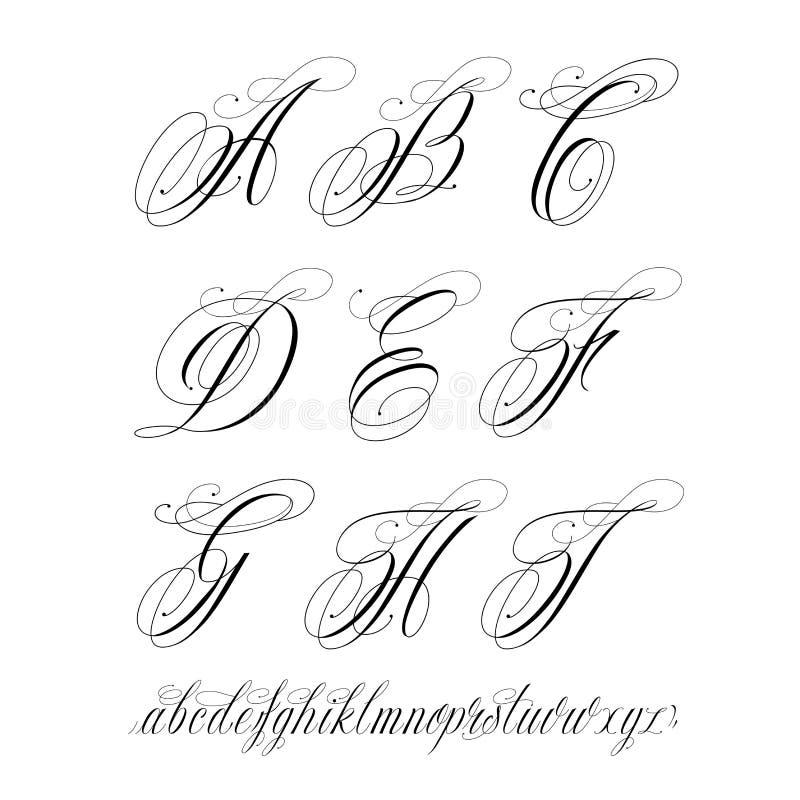 Tatueringalfabet royaltyfri illustrationer