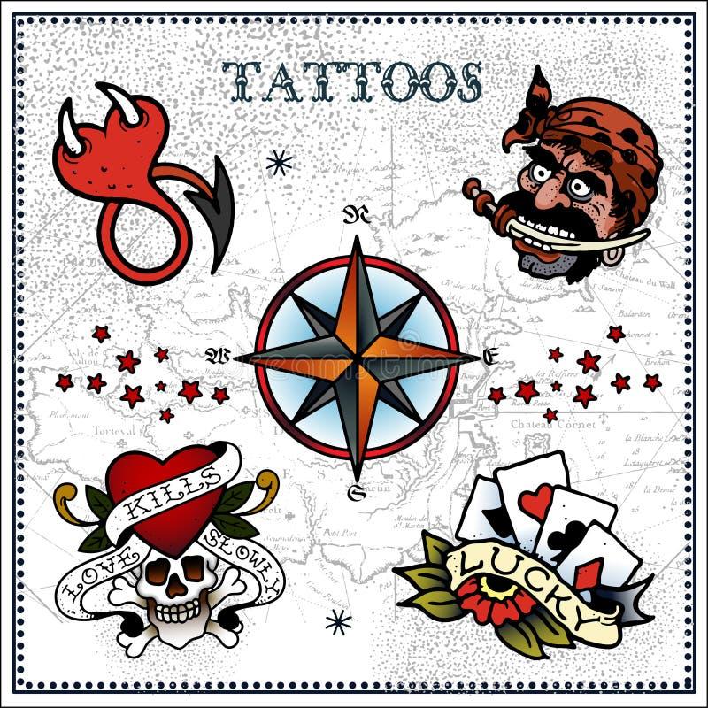 Tatueringar royaltyfri illustrationer