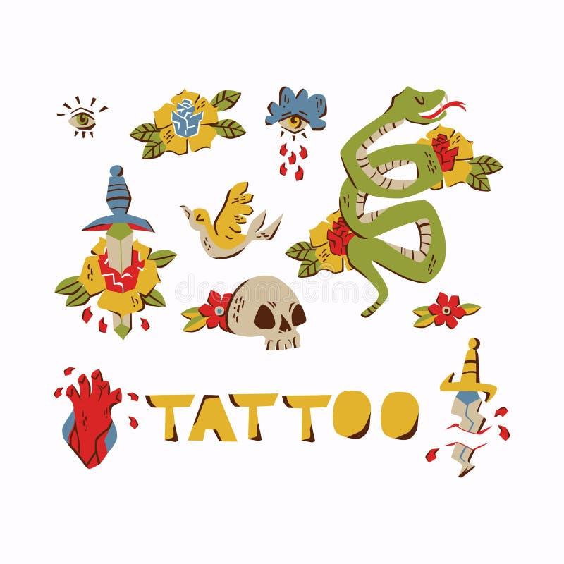 Tatueringbeståndsdelar för gammal skola Uppsättning av utdragna tappningtatueringar för hand som isoleras på vit bakgrund vektor illustrationer