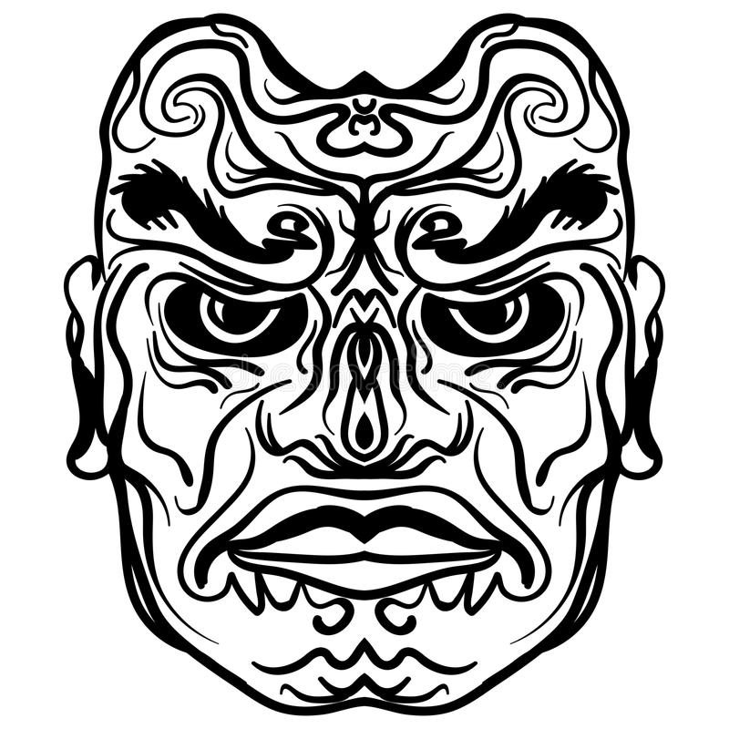Tatueringdesign av den stam- maskeringsillustrationen royaltyfri illustrationer
