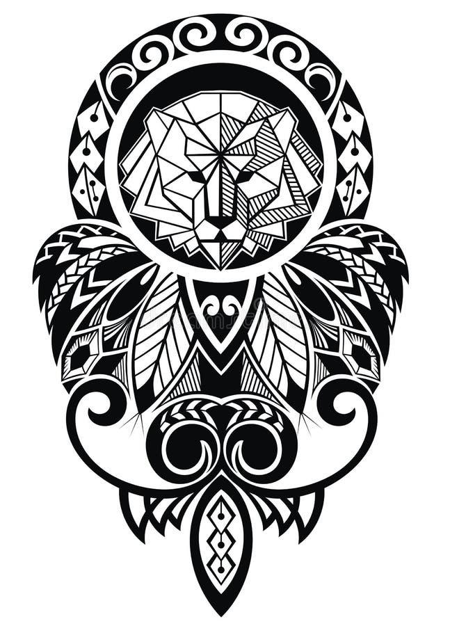 Tatueringdesign med lejonet stock illustrationer