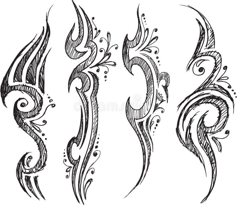 Tatueringen klottrar vektorn royaltyfri illustrationer