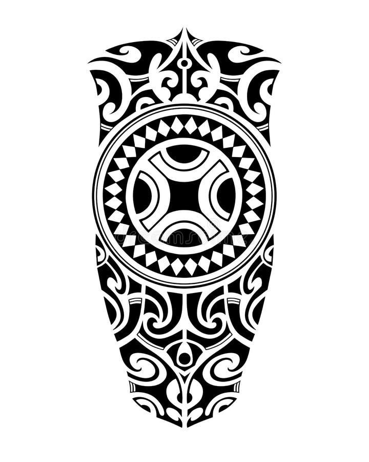 Tatueringen skissar maori stil för ben eller skuldra royaltyfri illustrationer