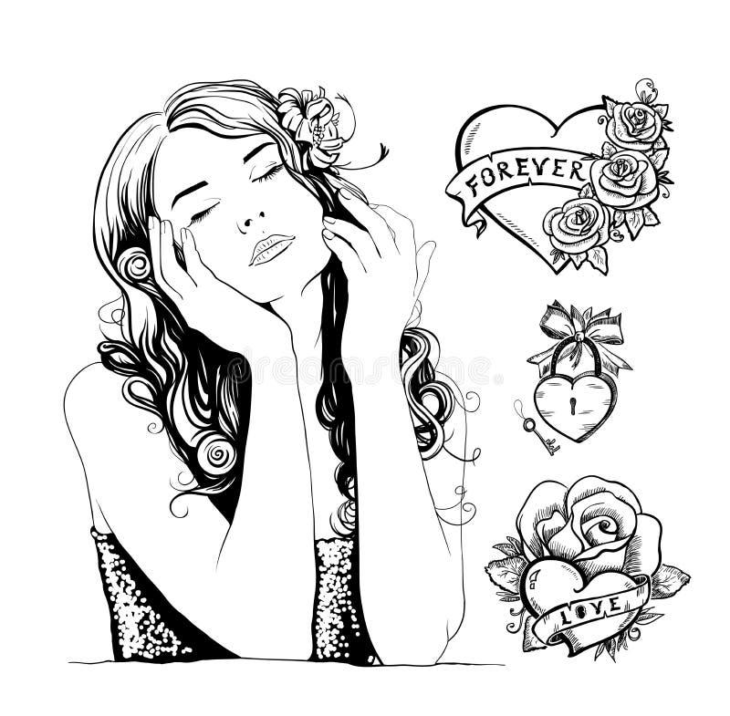 Tatueringen skissar med den nätta kvinnaståenden, hjärtor och rosor stock illustrationer