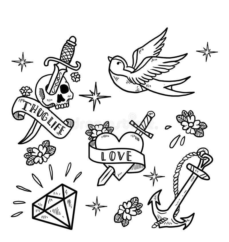 Tatueringexponering royaltyfri illustrationer