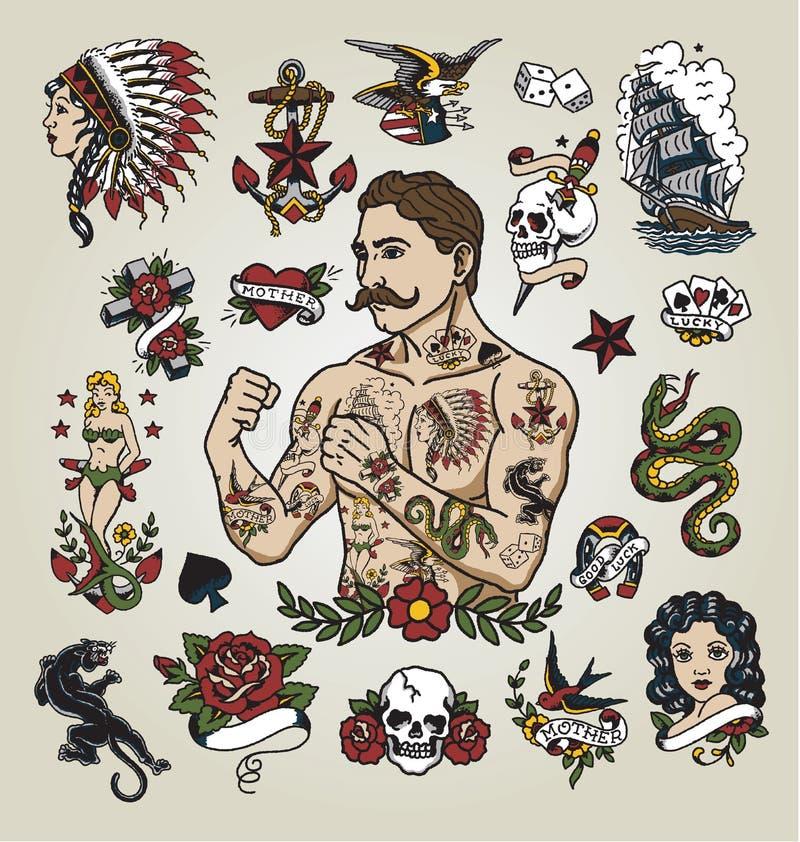 Tatueringexponeringsuppsättning tatueringhipsterman och olika tatueringbilder vektor illustrationer