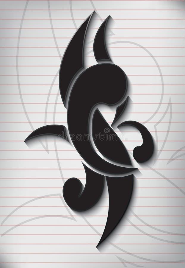 Tatueringhandstil på papper fodrad anmärkning royaltyfri illustrationer