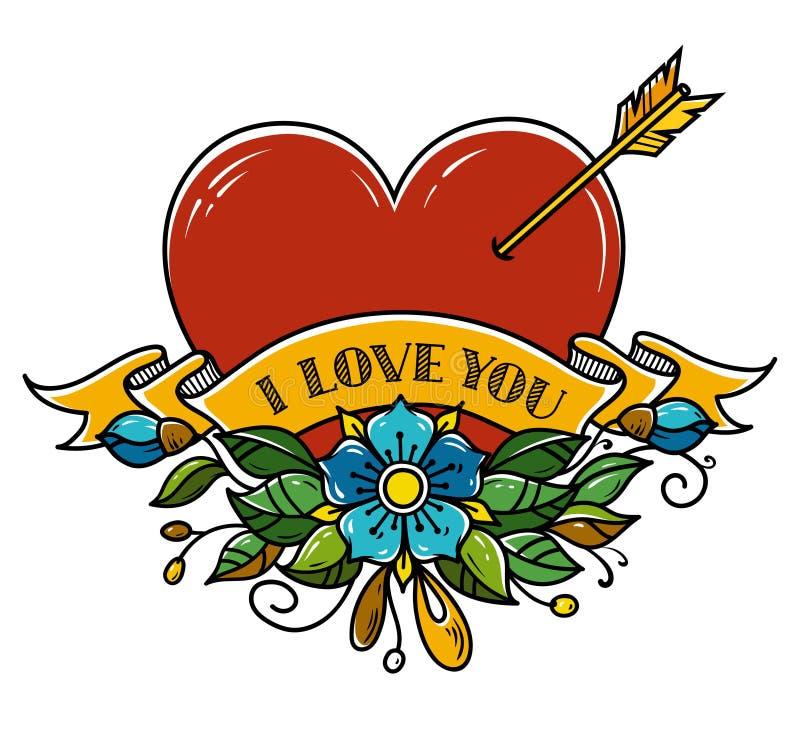 Tatueringhjärta som trängas igenom med pilen Hjärta som dekoreras med blommor och bandet jag älskar dig Illustration för valentin vektor illustrationer