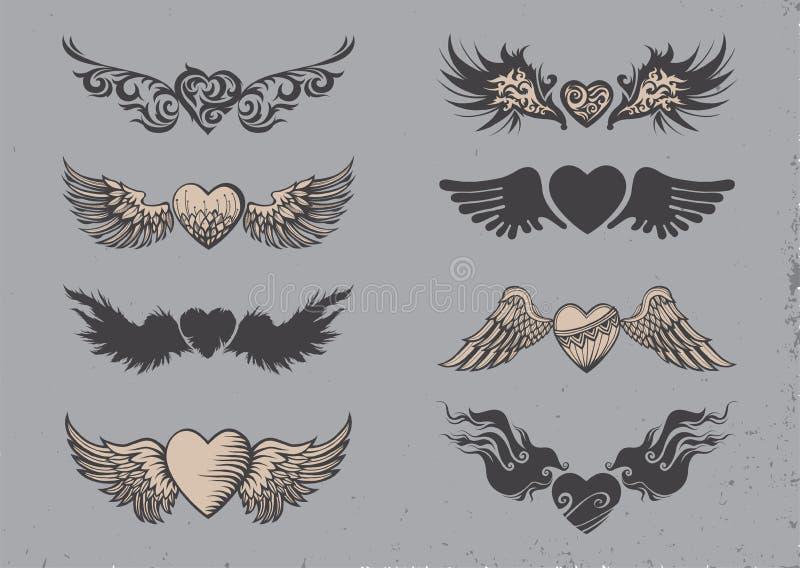 Tatueringhjärtor stock illustrationer