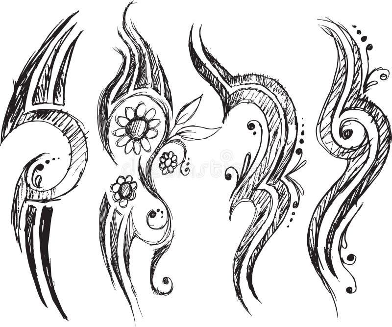 Tatueringklottervektor royaltyfri illustrationer