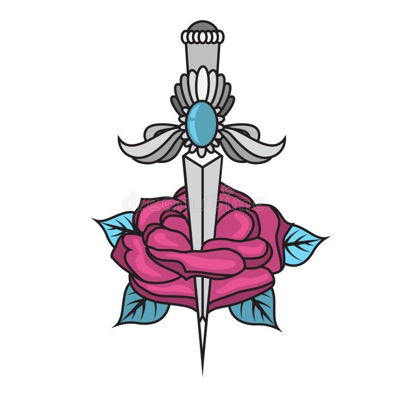 Tatueringkniv med en ros Design av den traditionella svärdtatueringen royaltyfri illustrationer