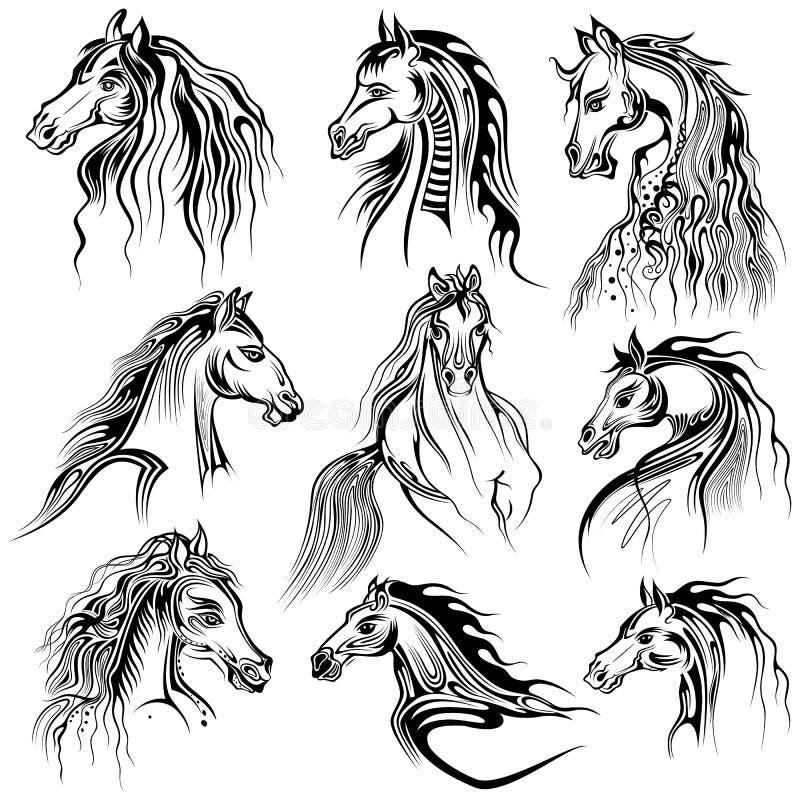 Tatueringkonstdesign av hästsamlingen stock illustrationer