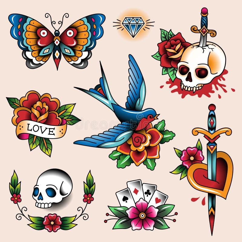 Tatueringsamling stock illustrationer