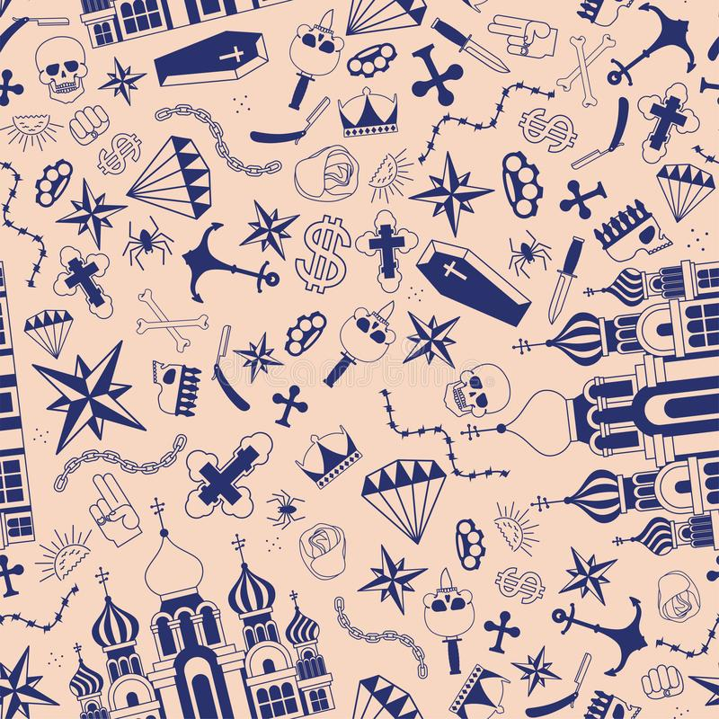 Tatueringsmönstret i ryska fängelser sömlöst Kyrka och skalle Tvärs och kedja Tråd och krona av taggtråd Thief stjärnor Ryssland- stock illustrationer
