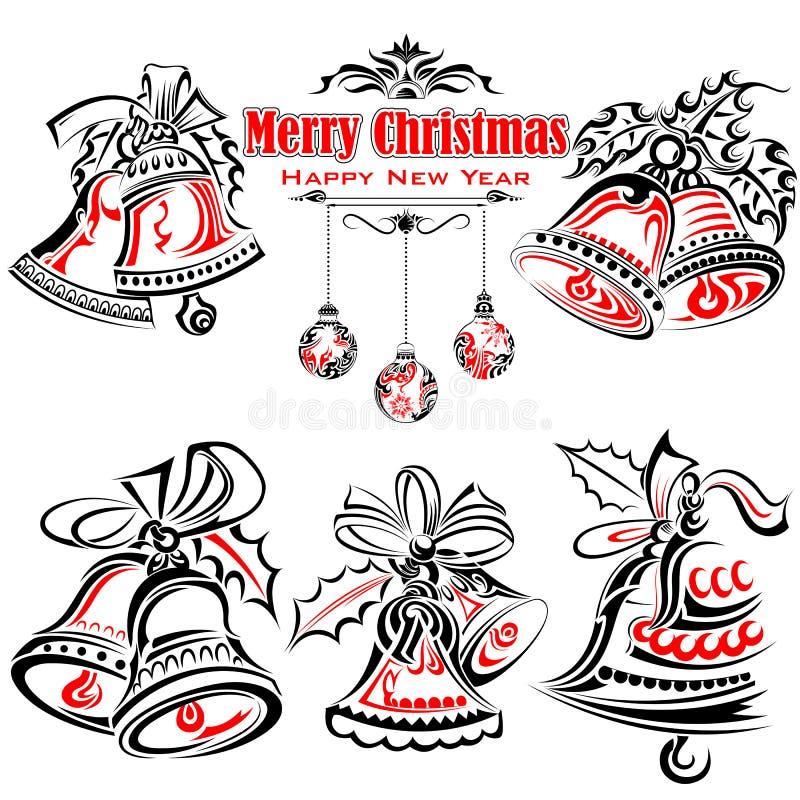 Tatueringstil av jul Jingle Bells stock illustrationer