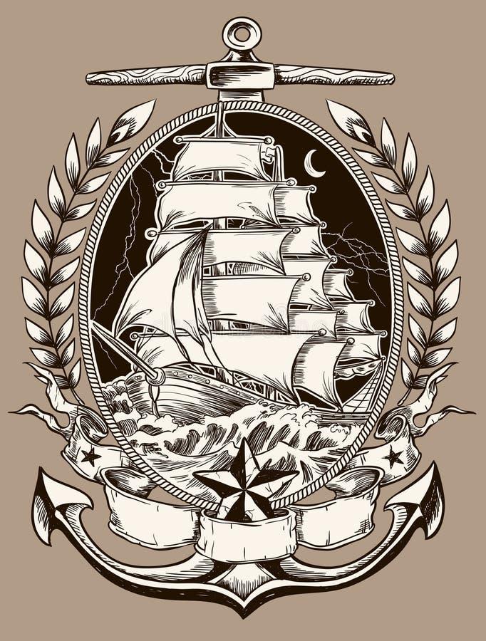 Tatueringstil piratkopierar skeppet i vapen royaltyfri illustrationer