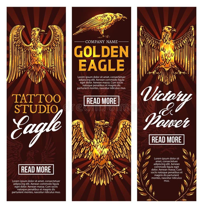 Tatueringstudio för guld- örn, vektorbaner stock illustrationer