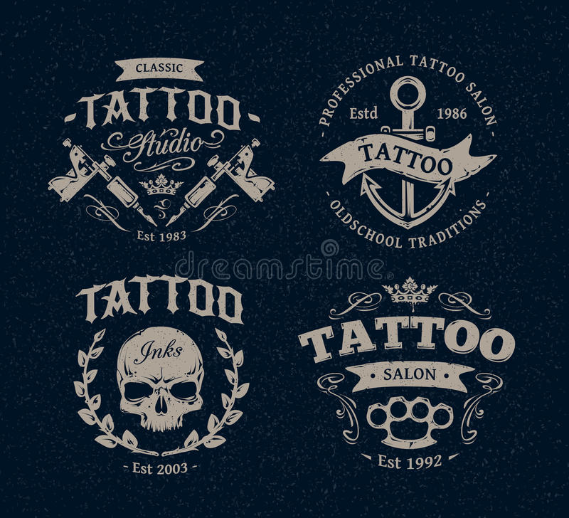 Tatueringstudioemblem royaltyfri illustrationer