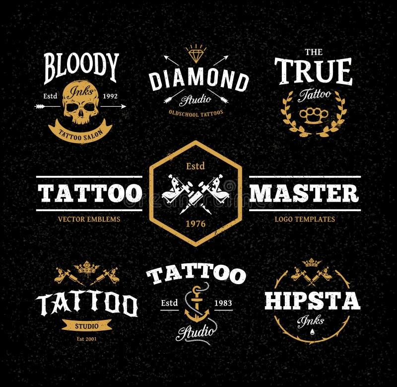 Tatueringstudioemblem stock illustrationer