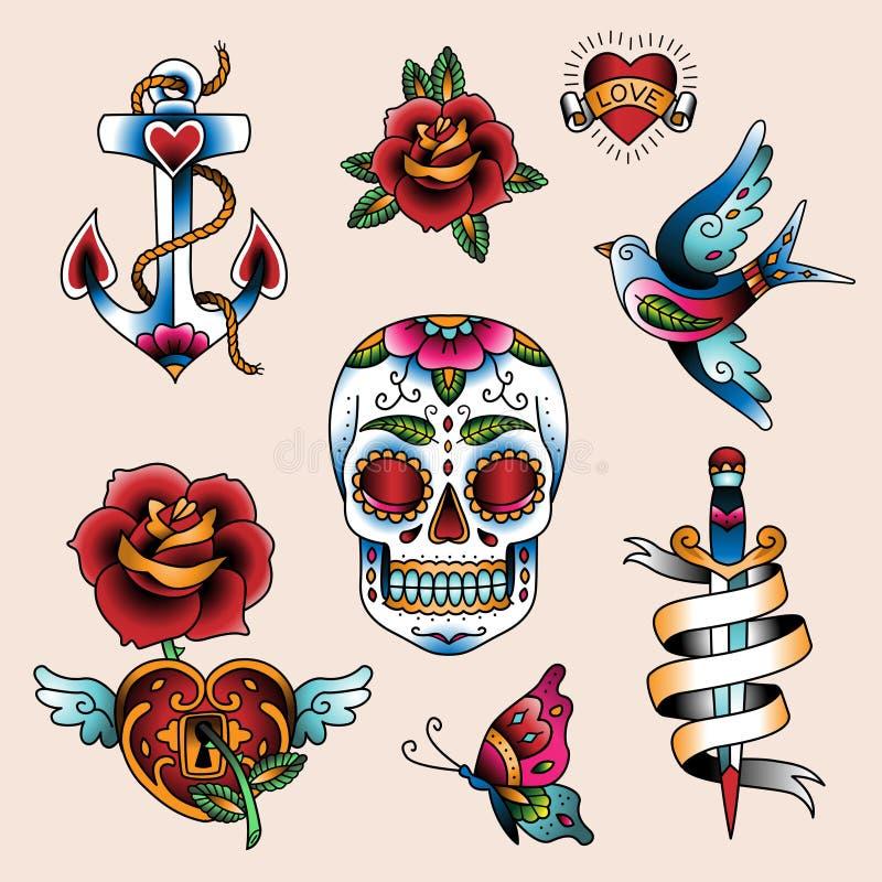 Tatueringuppsättning stock illustrationer