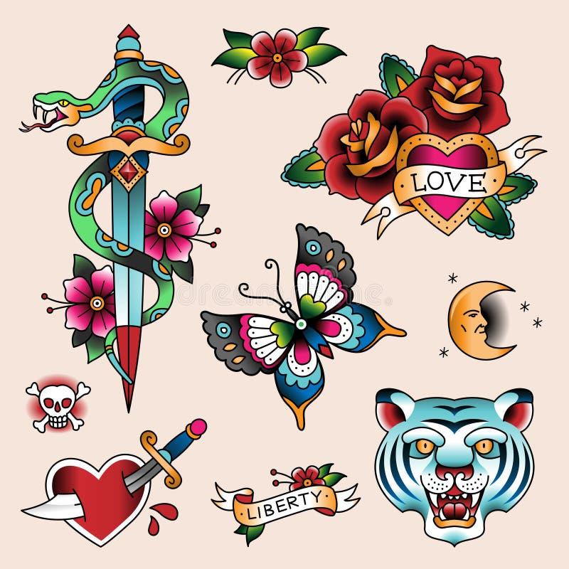 Tatueringuppsättning royaltyfri illustrationer