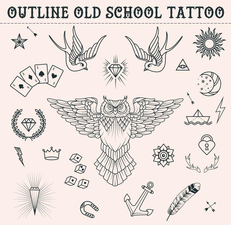 Tatueringuppsättning för gammal skola Tecknad filmtatueringbeståndsdelar i rolig stil: ankare uggla, stjärna, hjärta, diamanter,  royaltyfri illustrationer