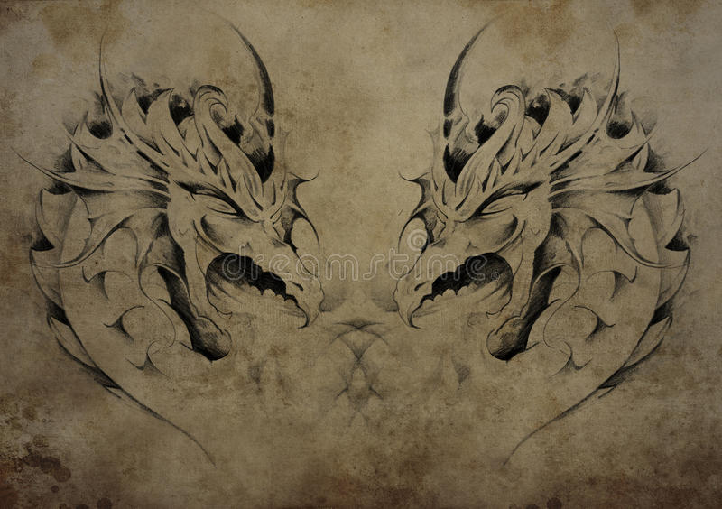 Tatui i draghi sopra carta d'annata, tatuaggi tribali neri illustrazione di stock