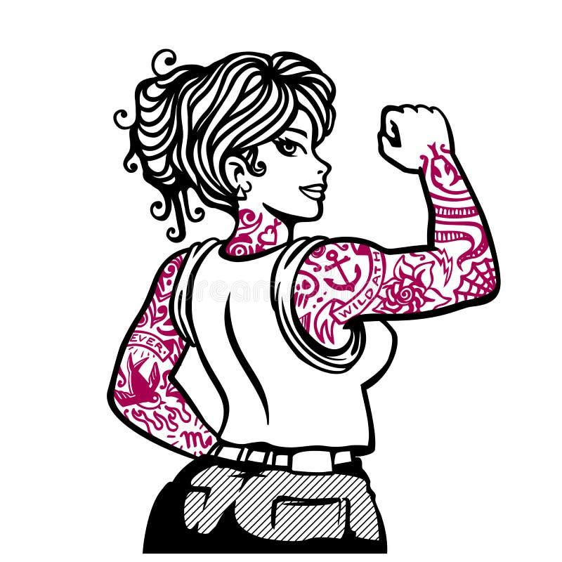 Tatuująca dziewczyna, inked kobieta wektoru ilustracja ilustracji