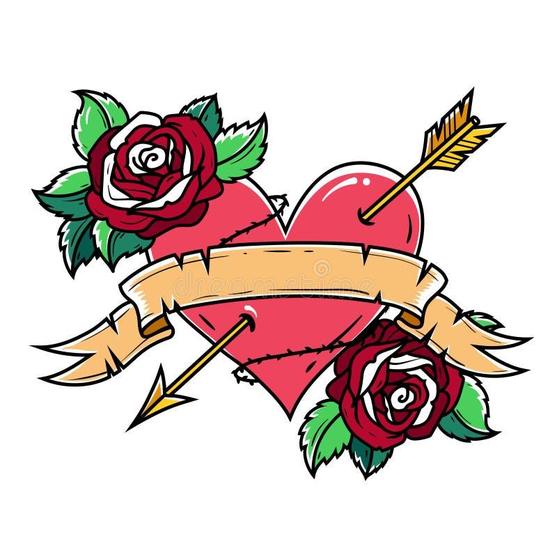 Tatuuje Czerwonego serce przebijającego strzała z faborkiem i różami Symbol miłość i pasja royalty ilustracja